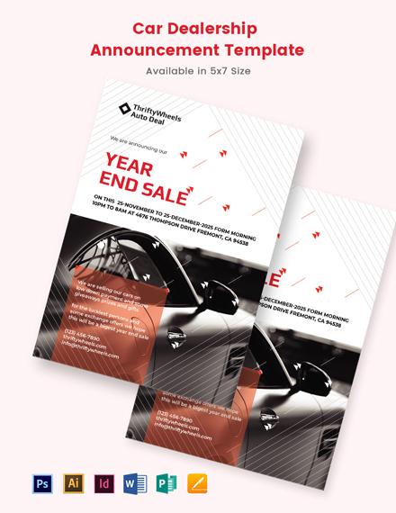 Car Dealership Announcement Template
