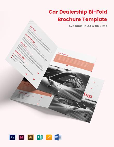 Car Dealership Bi-Fold Brochure Template
