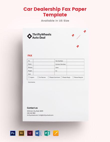Car Dealership Fax Paper Template