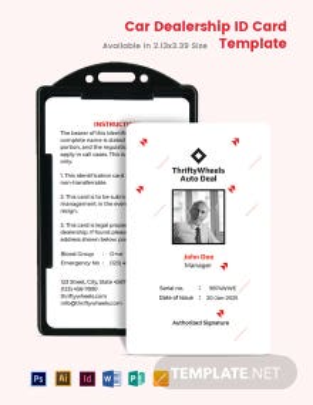 Car Dealership ID card Template