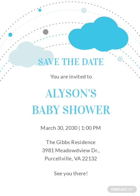Save the Date Baby Shower Invitation Template