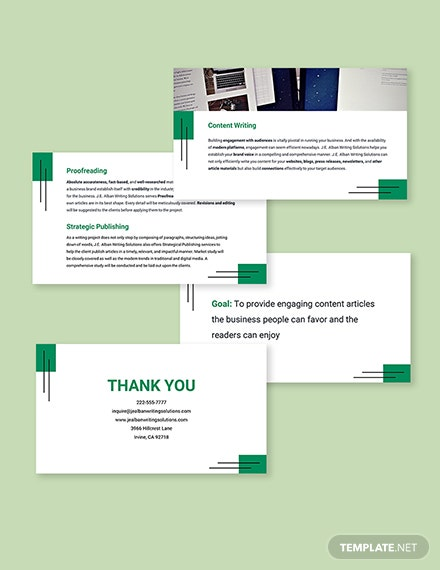 Freelance Writer Presentation Template Format