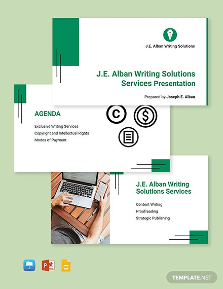 Freelance Writer Presentation Template