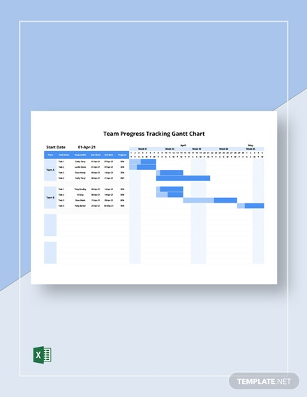 Team Progress Tracking Gantt Chart Template