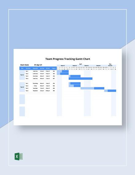 Team Progress Tracking Gantt Chart Template