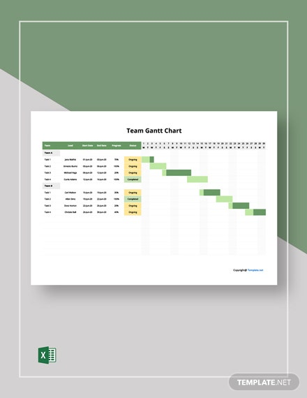 Free Simple Team Gantt Chart Template