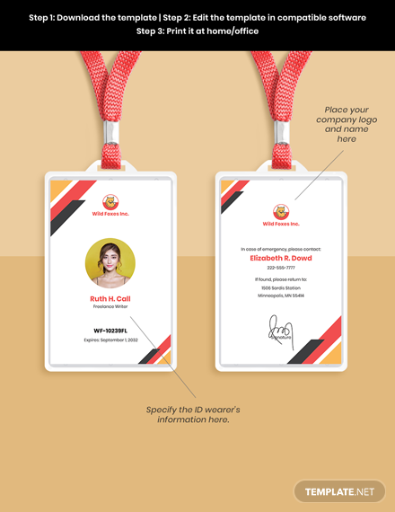 Freelance Writer ID Card Template sample