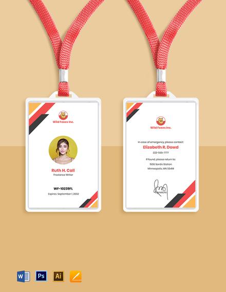 Freelance Writer ID Card Template