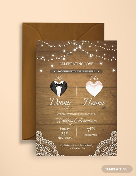 Free Vintage Wedding Invitation Card Template