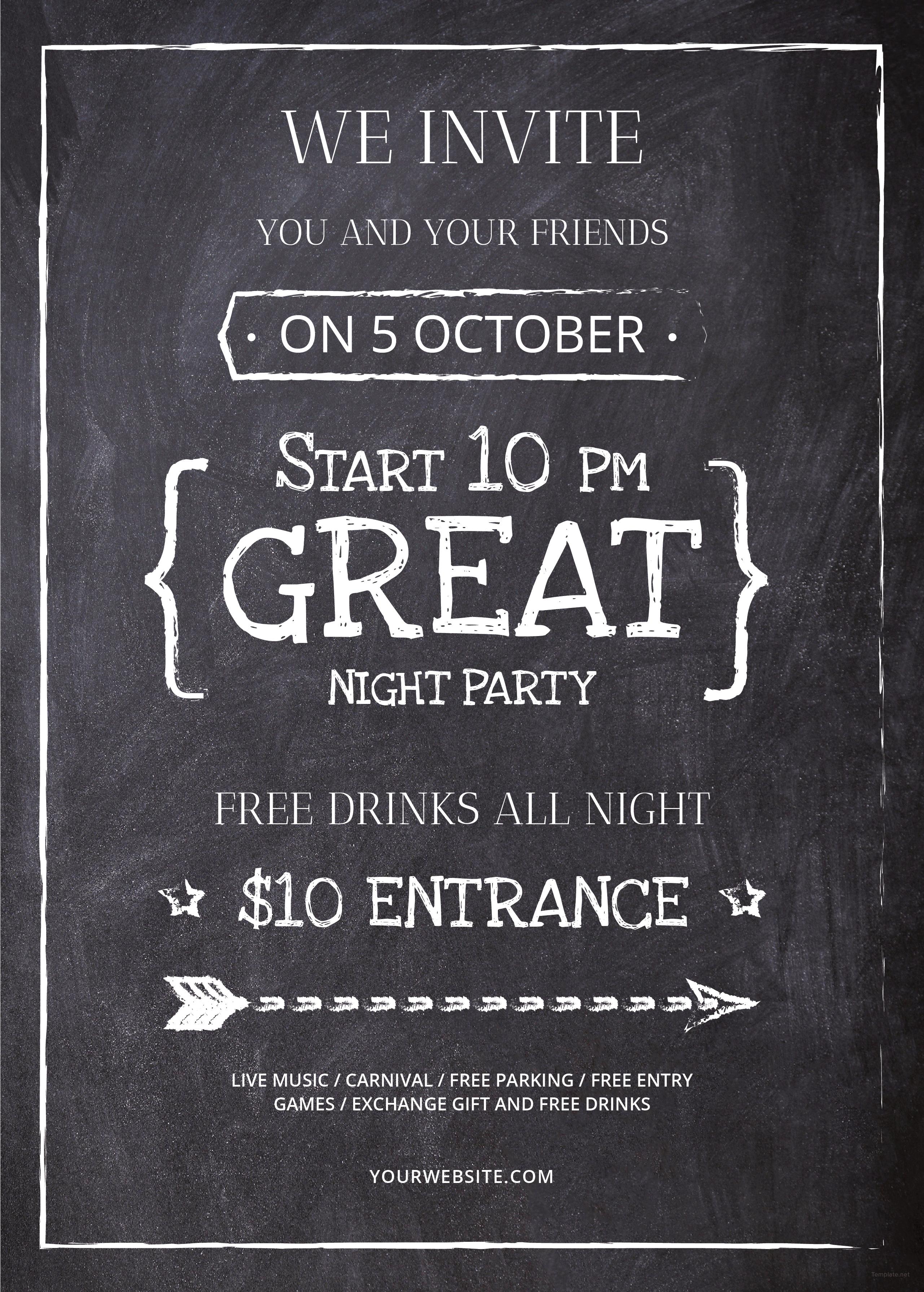free chalkboard flyer template in illustrator