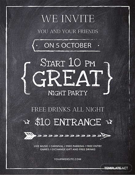Download Fonts For Word >> Free Chalkboard Flyer Template: Download 416+ Flyers in ...