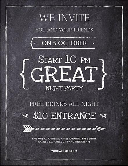 free chalkboard flyer template 1x 1