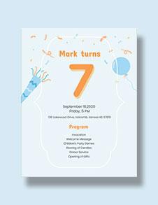 7th Birthday Program Template