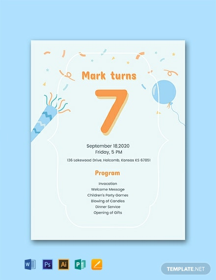 Free 7th Birthday Program Template