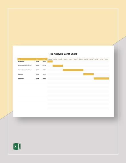 Job Analysis Gantt Chart Template
