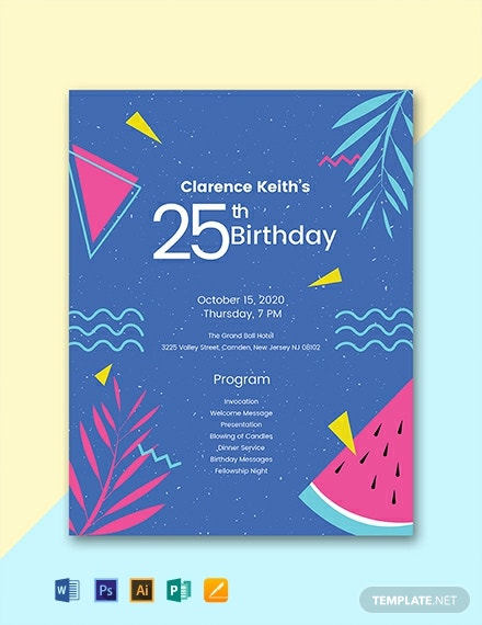 Free Sample Birthday Program Template
