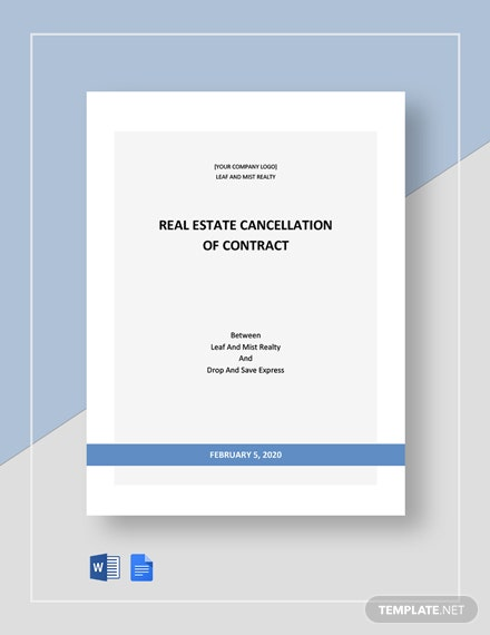 Real Estate Cancellation of Contract Template