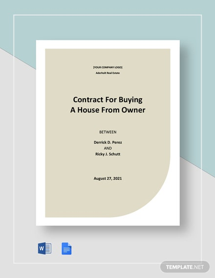 Contract For Buying A House From Owner Template