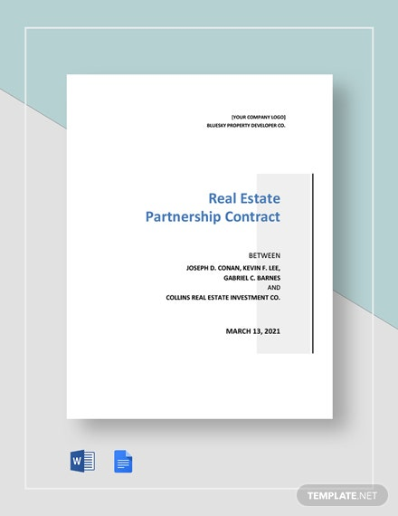 Real Estate Partnership Contract Template