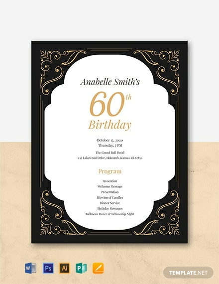 Free 60th Birthday Program Template Word Psd