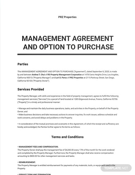 Management Agreement and Option to Purchase Template