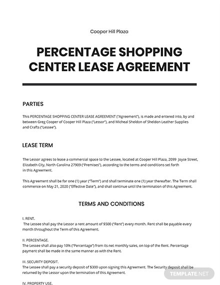 Percentage Shopping Center Lease Agreement Template