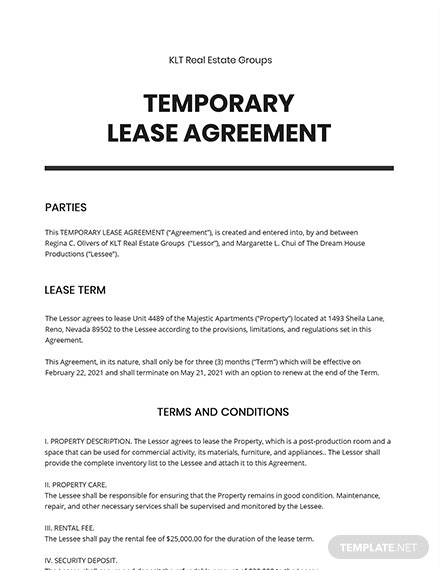Temporary Lease Agreement Template