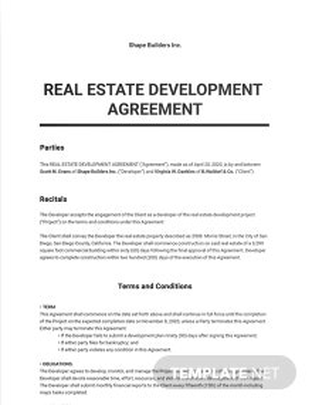 Real Estate Development Agreement Template