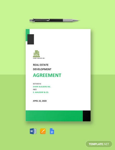 Real Estate Development Agreement Template