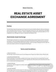 Asset Exchange Agreement Template