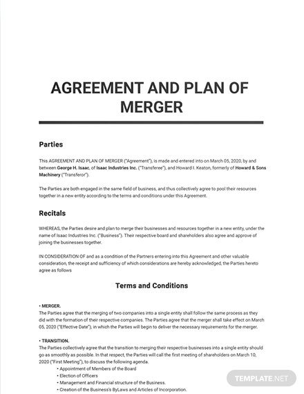 Agreement and Plan of Merger Template
