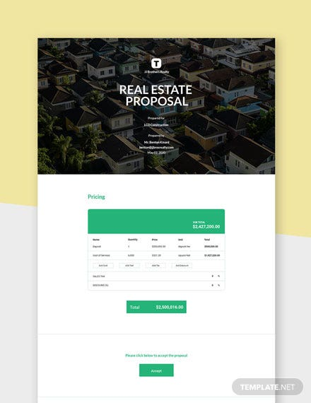 One Page Real Estate Proposal Template