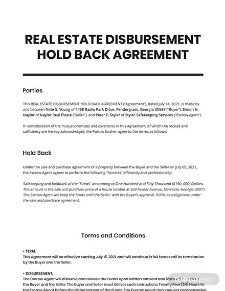 Real Estate Disbursement Hold Back Agreement Template