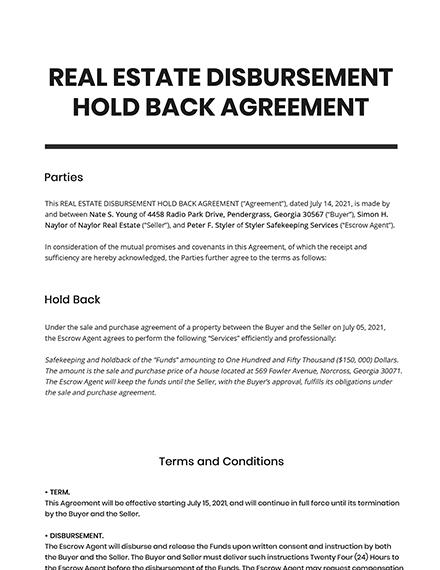 Real Estate Disbursement Hold Back Agreement Template