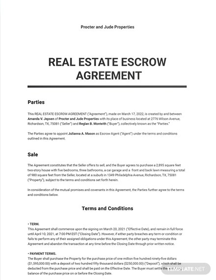 Real Estate Escrow Agreement Template
