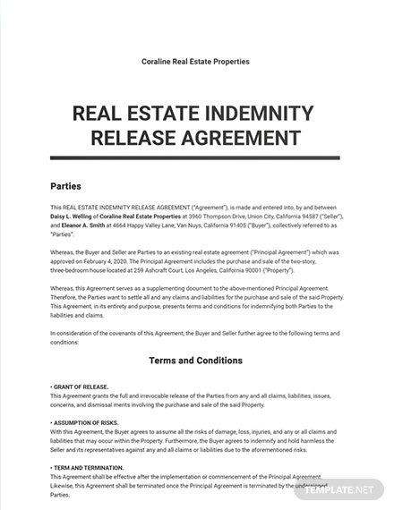 Real Estate Indemnity Release Agreement Template