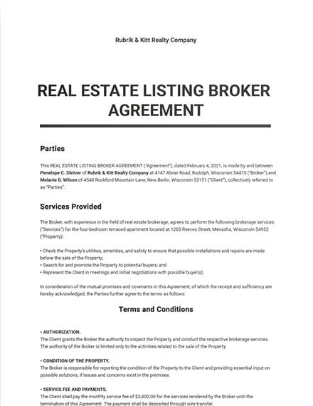 Real Estate Listing Broker Agreement Template