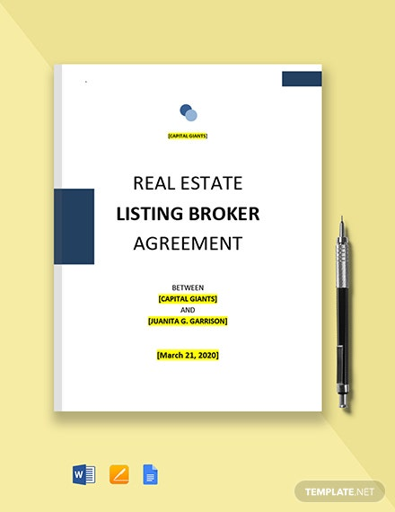 Real Estate Listing Broker Agreement Template