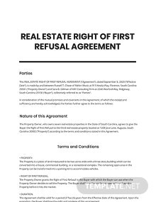 Real Estate Right of First Refusal Agreement Template