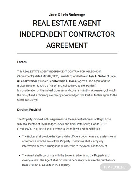 Real Estate Agent Independent Contractor Agreement Template