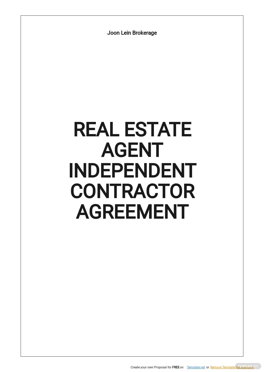 Real Estate Agent Independent Contractor Agreement Template.jpe