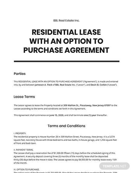 Residential Lease with an Option to Purchase Agreement Template