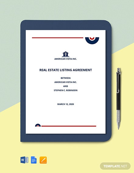 Real Estate Agent Listing Agreement Template