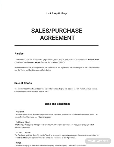 Residential Real Estate Purchase Agreement Template