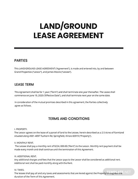 LandGround Lease Agreement Template