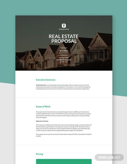 Basic Real Estate Proposal Template
