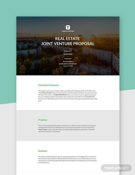 Real Estate Joint Venture Proposal Template