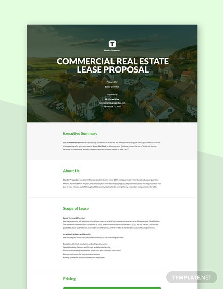 Commercial Real Estate Lease Proposal Template