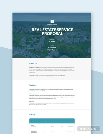 Real Estate Service Proposal Template