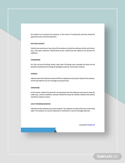 Free Commercial Sublease Template